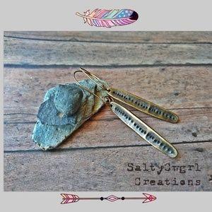 SaltyCwgrl Creations 💜 Jewelry - Rustic Boho Antique Brass Leaf Earrings